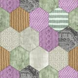 DUTCH WALLCOVERINGS Behang patchwork groen en lila 7360-6