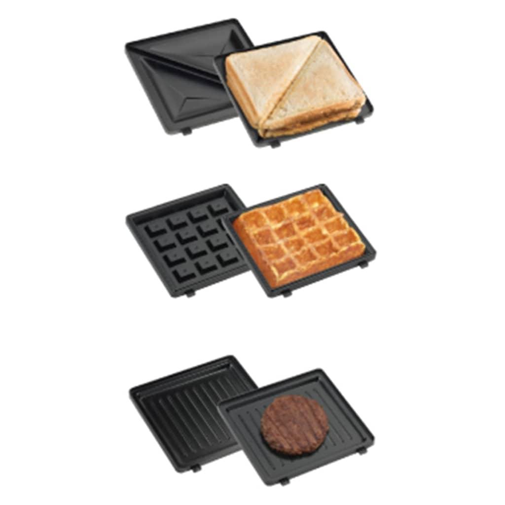 Bestron 3-in-1 Sandwich Toaster Snack Waffle Maker 520W Rood ADM2003R