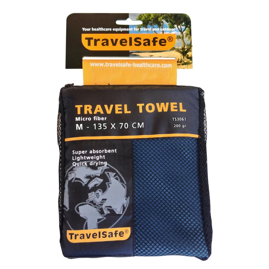Travelsafe reishanddoek microvezel maat M (blauw) TS3051