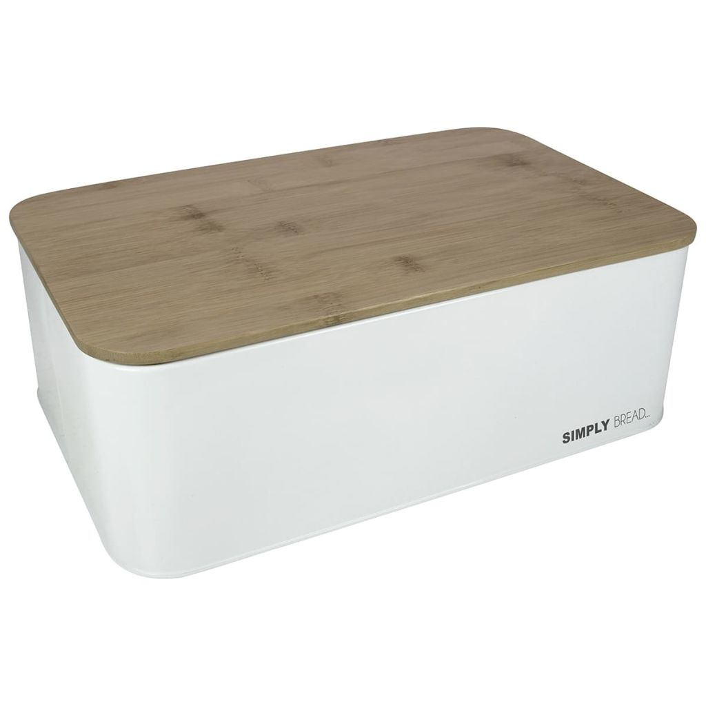 Afbeelding van Gusta Broodtrommel met bamboe deksel Home Catering wit 01147990