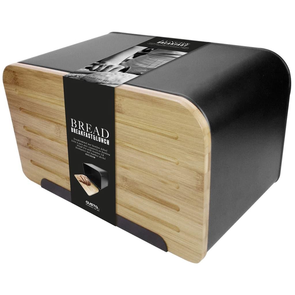 Gusta Cutie pentru pâine cu capac din bambus Retro, negru, 01147950 imagine vidaxl.ro