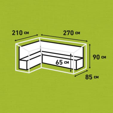 Madison Husă set mobilier relaxare exterior, gri, 270 x 210 x 90 cm, stânga[12/12]