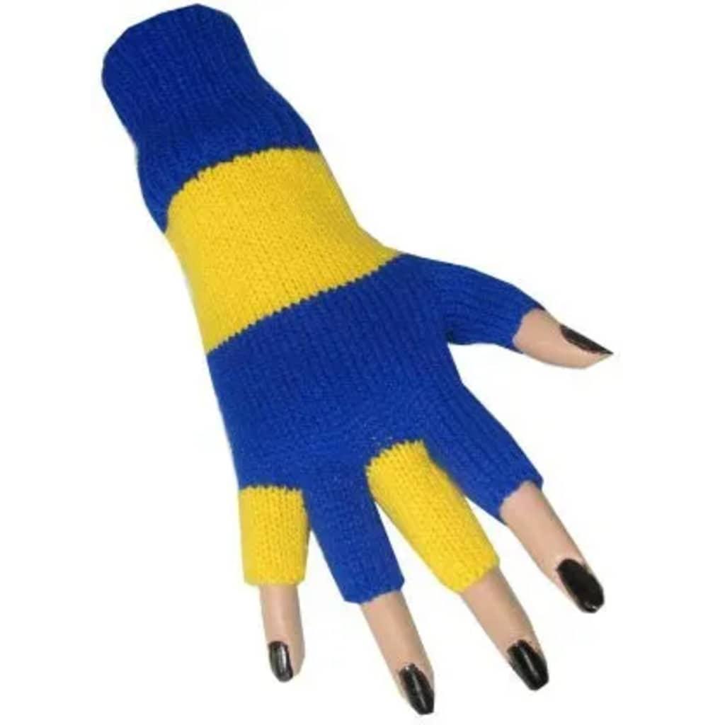 Partyxplosion Fingerlose Handschuhe blau / gelb