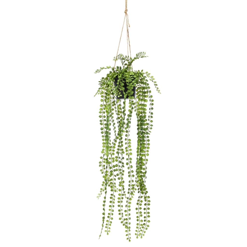 Emerald Ficus artificial Pumila, tufă suspendată în ghiveci, 60 cm imagine vidaxl.ro