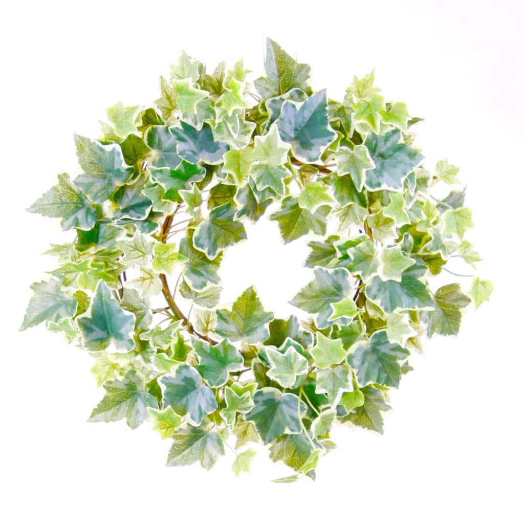 emerald artificial ivy wreath green and white 35 cm 416347 for sale