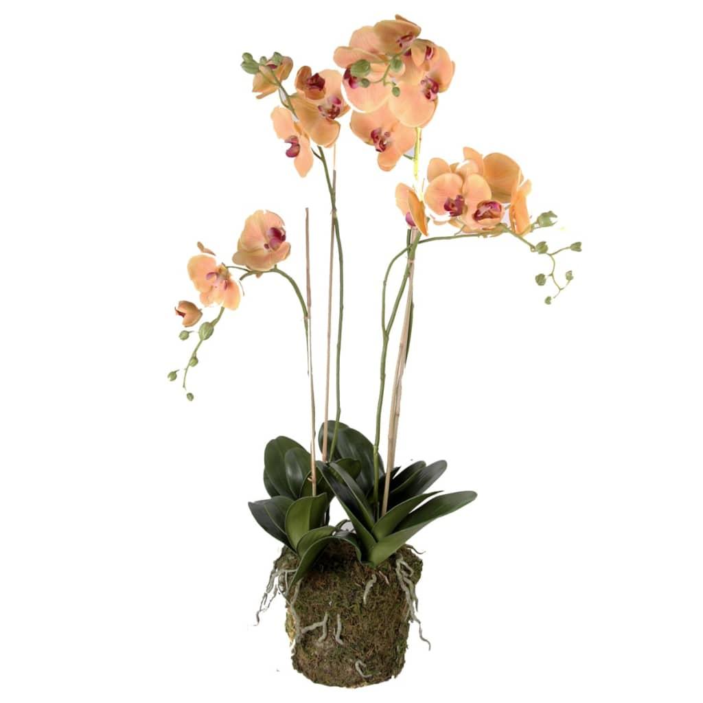 Emerald Kunstig orkidé med mose oransje 419150