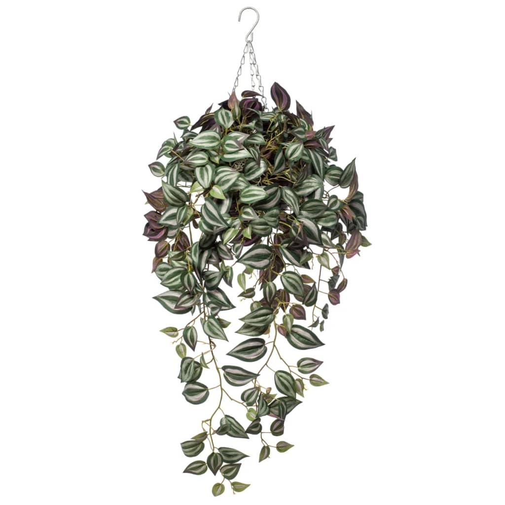 Emerald Kunstplant tradescantia hangend tweekleurig paars 420847