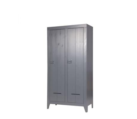 Armoire industrielle 2 portes en pin Til - Couleur - Gris anthracite[8/10]