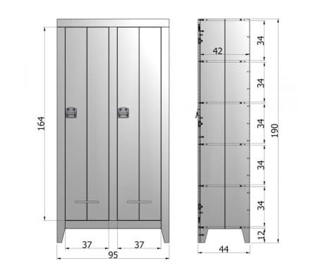 Armoire industrielle 2 portes en pin Til - Couleur - Gris anthracite[10/10]