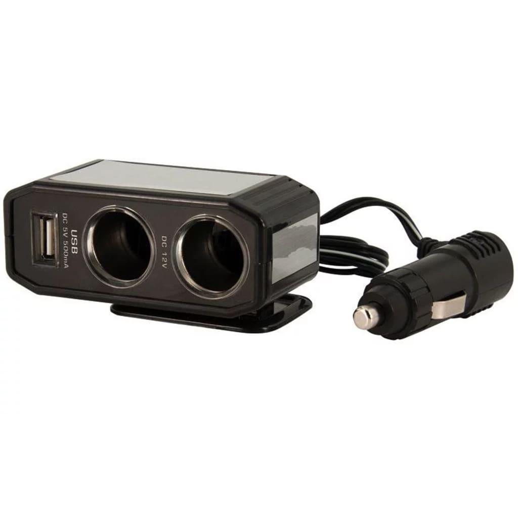 Afbeelding van AutoStyle 2 weg splitter 12 Volt met één USB poort zwart