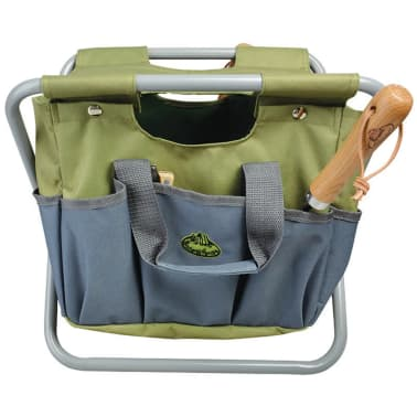 Esschert Design Sodo įrankių krepšys ir kėdutė, pilka, GT85[1/5]