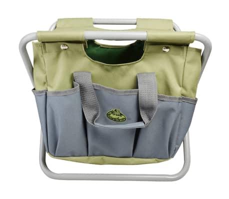 Esschert Design Sodo įrankių krepšys ir kėdutė, pilka, GT85[2/5]