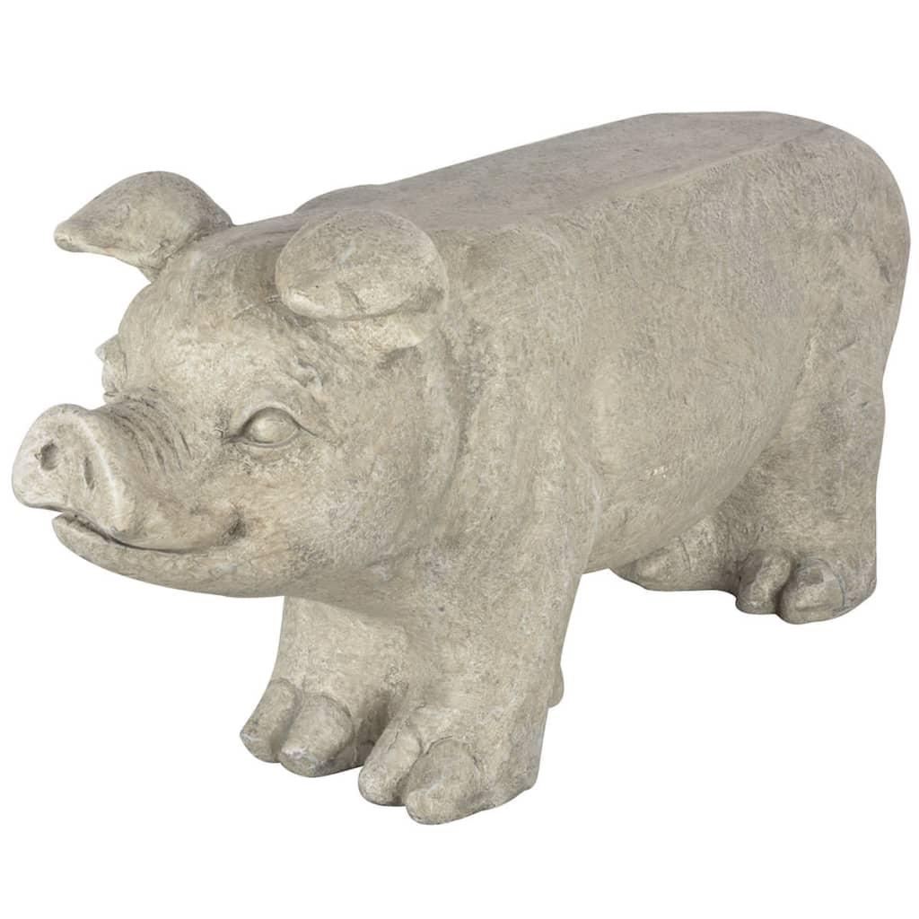 Esschert Design Bancă pentru grădină în formă de porcușor gri vidaxl.ro
