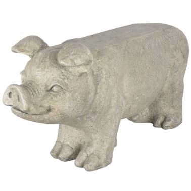 Esschert Design Banc de jardin en pierre en forme de cochon Gris[1/6]