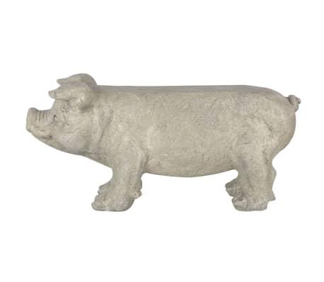 Esschert Design Banc de jardin en pierre en forme de cochon Gris[2/6]