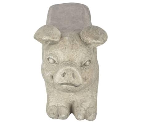 Esschert Design Banc de jardin en pierre en forme de cochon Gris[3/6]