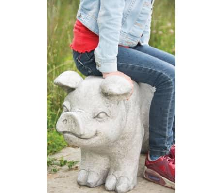 Esschert Design Banc de jardin en pierre en forme de cochon Gris[4/6]