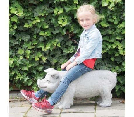 Esschert Design Banc de jardin en pierre en forme de cochon Gris[5/6]