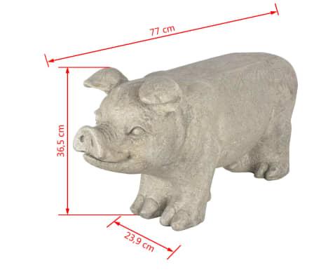 Esschert Design Banc de jardin en pierre en forme de cochon Gris[6/6]