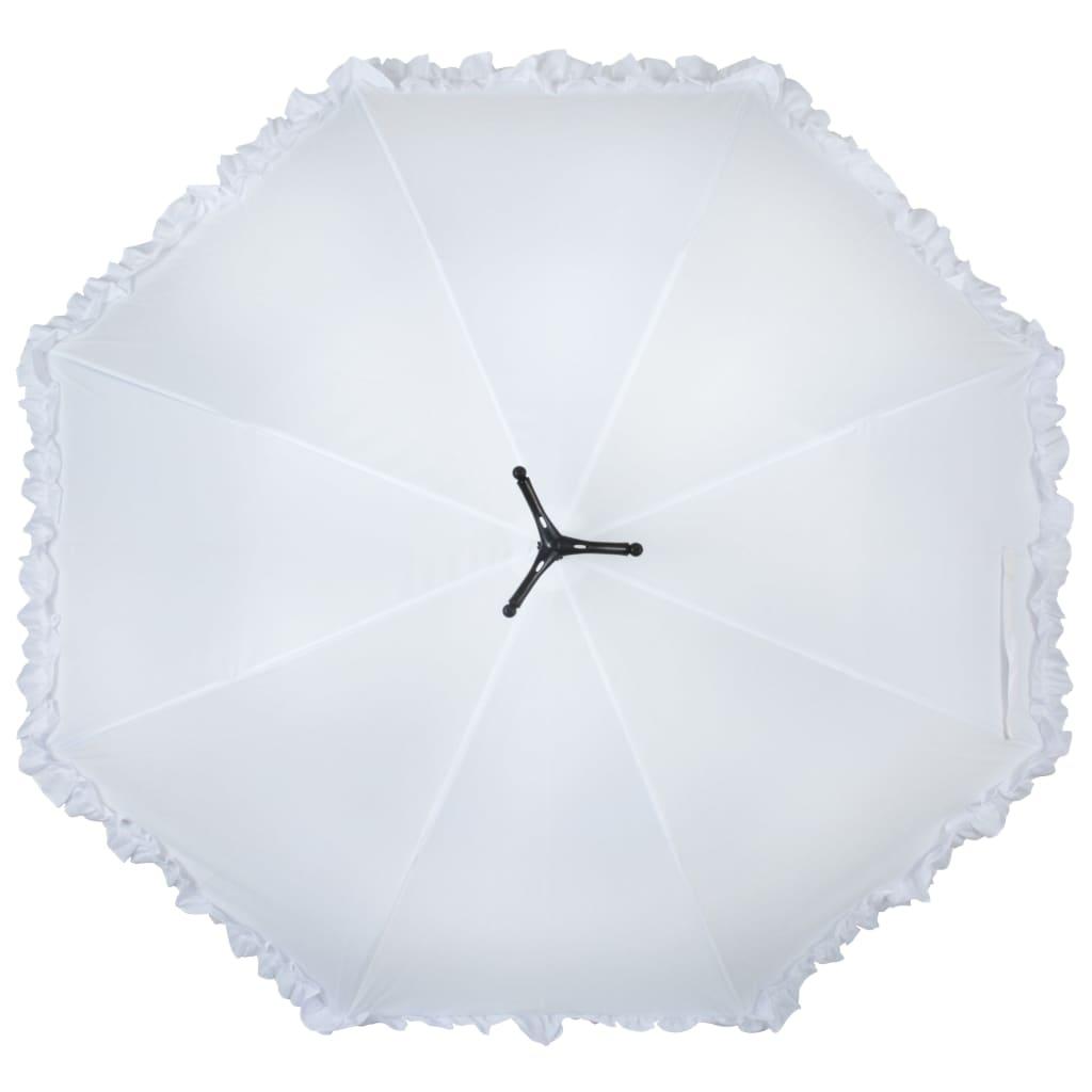 """99421313 Esschert Design Regenschirm mit Rüschen """"Swan"""" 99,5 cm Weiß TP256"""