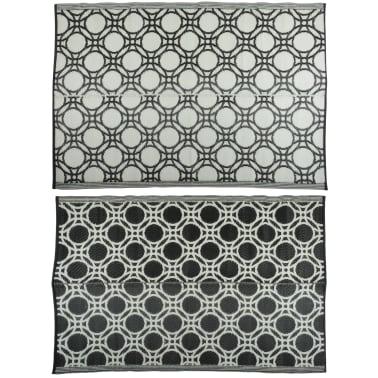 Esschert Design Außenteppich Kreise 174x121 cm Schwarz und Weiß OC17[1/3]