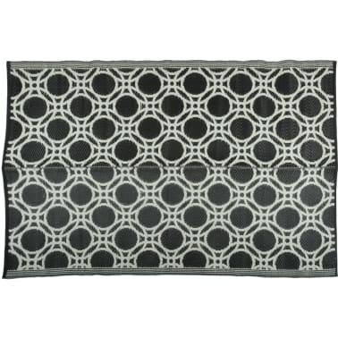Esschert Design Außenteppich Kreise 174x121 cm Schwarz und Weiß OC17[2/3]