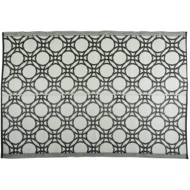 Esschert Design Außenteppich Kreise 174x121 cm Schwarz und Weiß OC17[3/3]