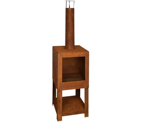 Esschert Design Cheminée d'extérieur avec rangement de bois FF298