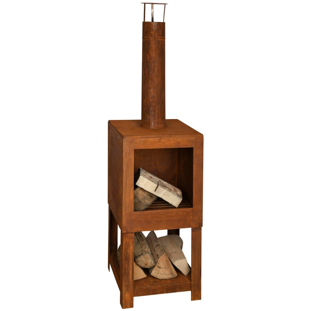 Esschert Design Șemineu de exterior cu spațiu depozitare lemne ruginiu poza vidaxl.ro