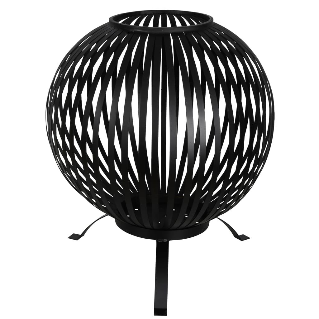 Afbeelding van Esschert Design Vuurkorf balvormig strepen koolstofstaal zwart FF400