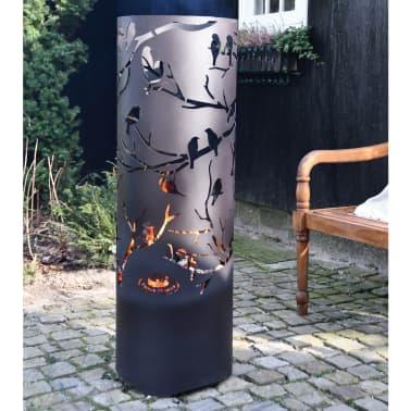 Esschert Design Baril à feu Birds on Twig Acier au carbone Noir FF409[6/7]