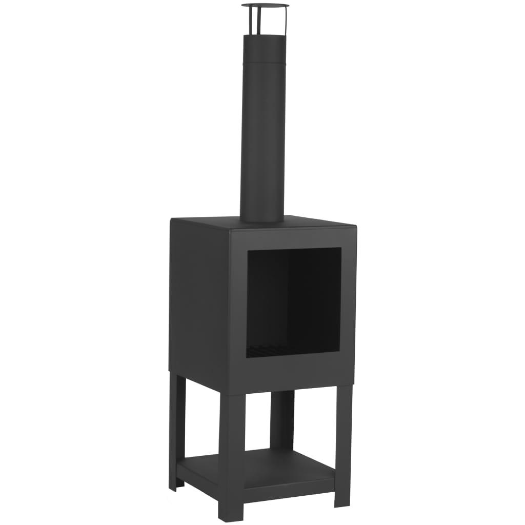 Esschert Design Șemineu de exterior cu spațiu depozitare lemne, negru poza 2021 Esschert Design