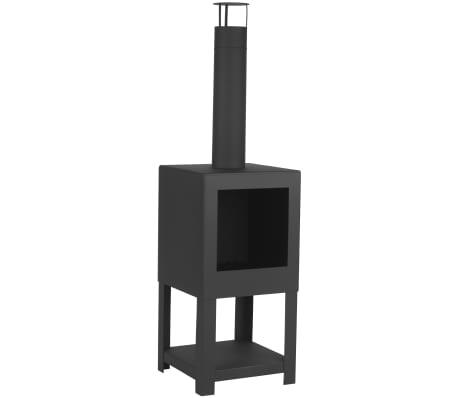 Esschert Design Lauko židinys su vieta malkoms, juodos spalvos, FF410