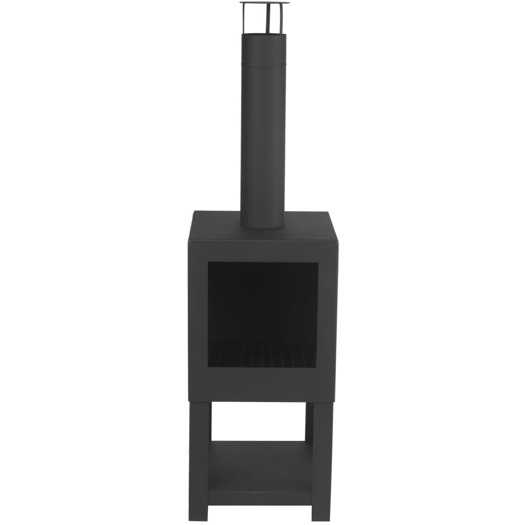 99421283 Esschert Design Terrassenofen mit Holzlager Schwarz FF410