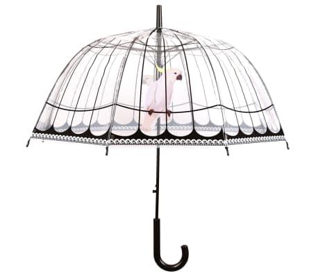 Esschert Design Paraguas transparente con dibujo de jaula de pájaros