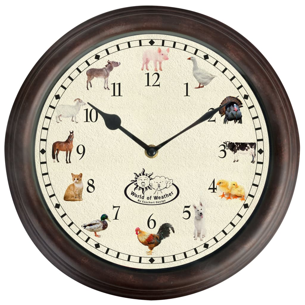 Esschert Design ur med dyrelyde