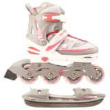Nijdam Inline Combo Ice Skates 31-34 White/Silver/Pink 52SZ