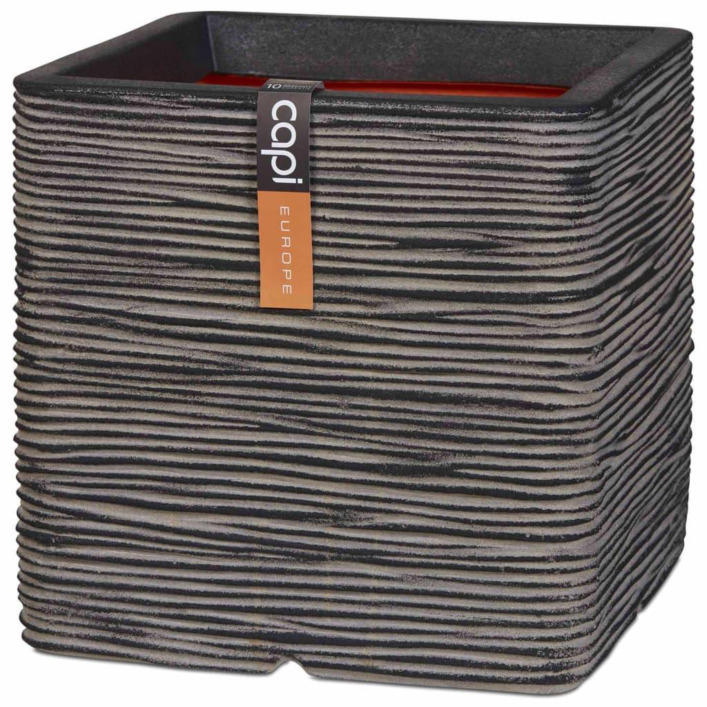 Capi Γλάστρα Nature Rib Τετράγωνη Ανθρακί 40 x 40 εκ. KOFZ903