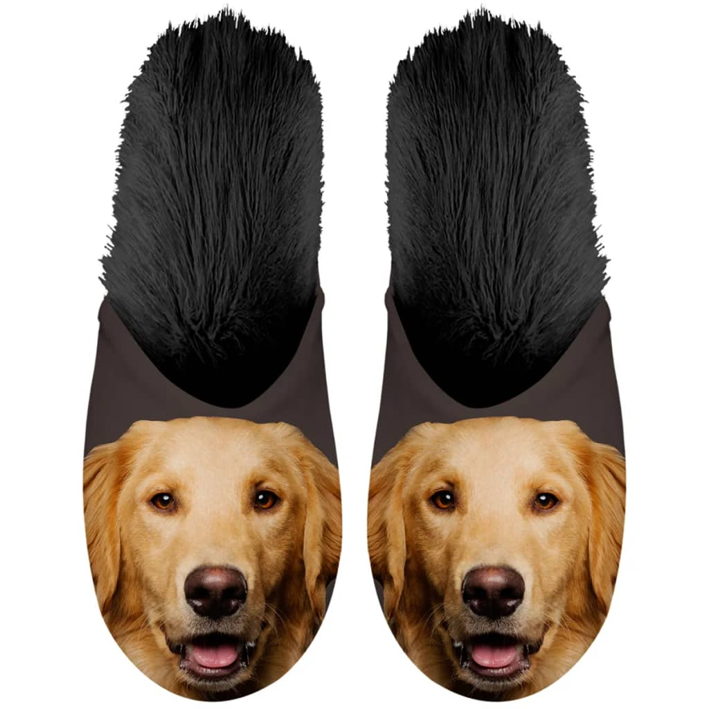 Plenty Gifts Papuci pluș animale Golden retriever Negru, 35-38, 42548 vidaxl.ro