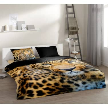 pure bettw sche set 4835 m leopard 135 200 cm schwarz g nstig kaufen. Black Bedroom Furniture Sets. Home Design Ideas