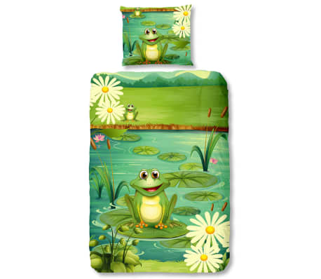 Good Morning Bäddset 5610-P Frogs 140x200/220 cm grön[1/2]