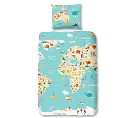 Good Morning Duvet Cover 5739-P World Map 140x200/220 cm Multicolour ...