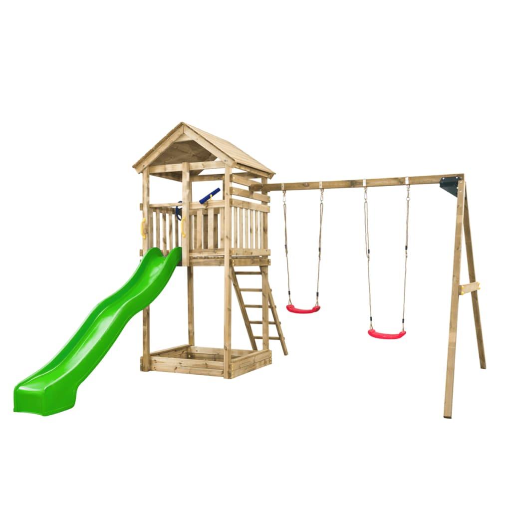 SwingKing speeltoren met groene glijbaan en 2-delige schommel Daan