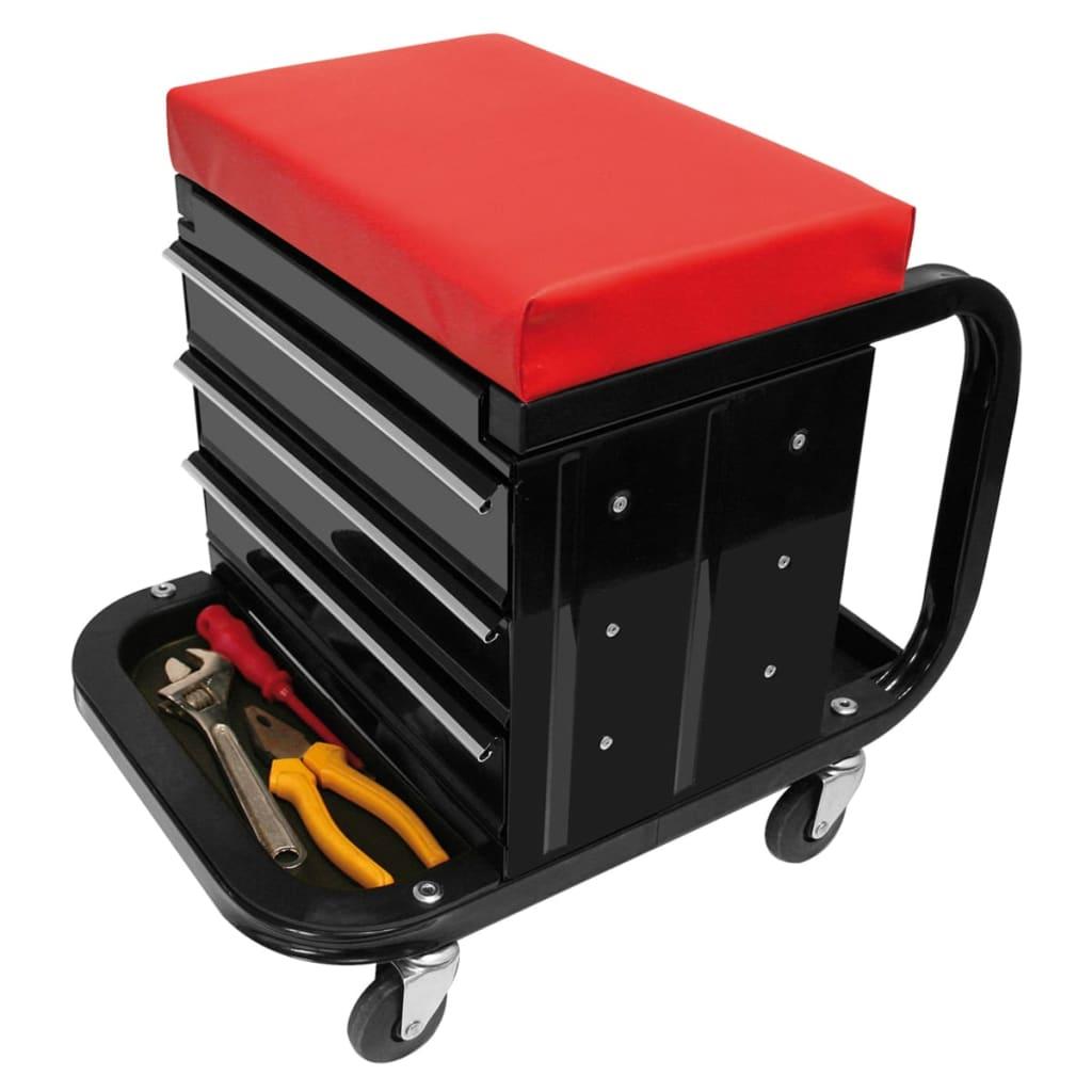 99404084 ProPlus Mobiler Werkstatt-Rollcontainer-Sitz mit Lagerfächern 580526