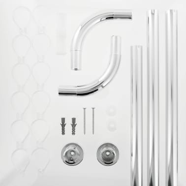 Sealskin Duschstange U-Form Seallux + 12 Ringe Chrom 13276668918