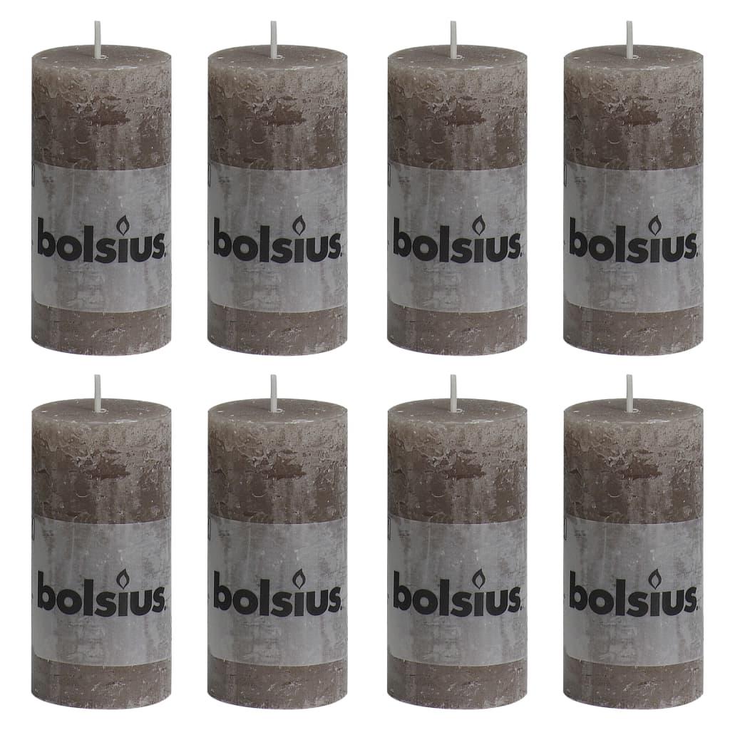 Bolsius Lumânări bloc rustice, 8 buc., gri taupe, 100 x 50 mm imagine vidaxl.ro