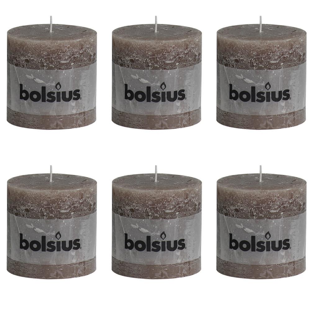 Bolsius Rustikální válcová svíčka 6 ks 100x100 mm šedohnědá