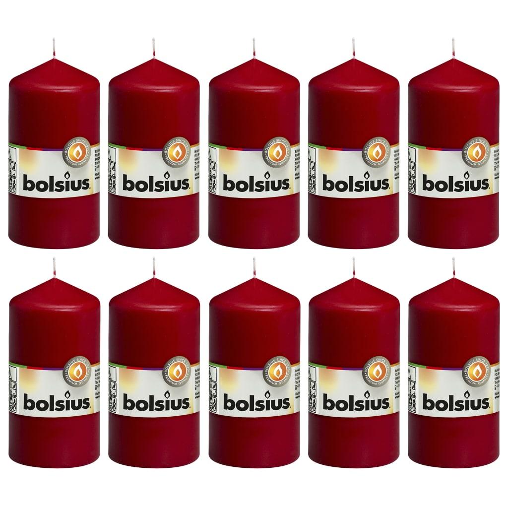 Bolsius Lumânări bloc, 10 buc., roșu vin, 120 x 58 mm imagine vidaxl.ro