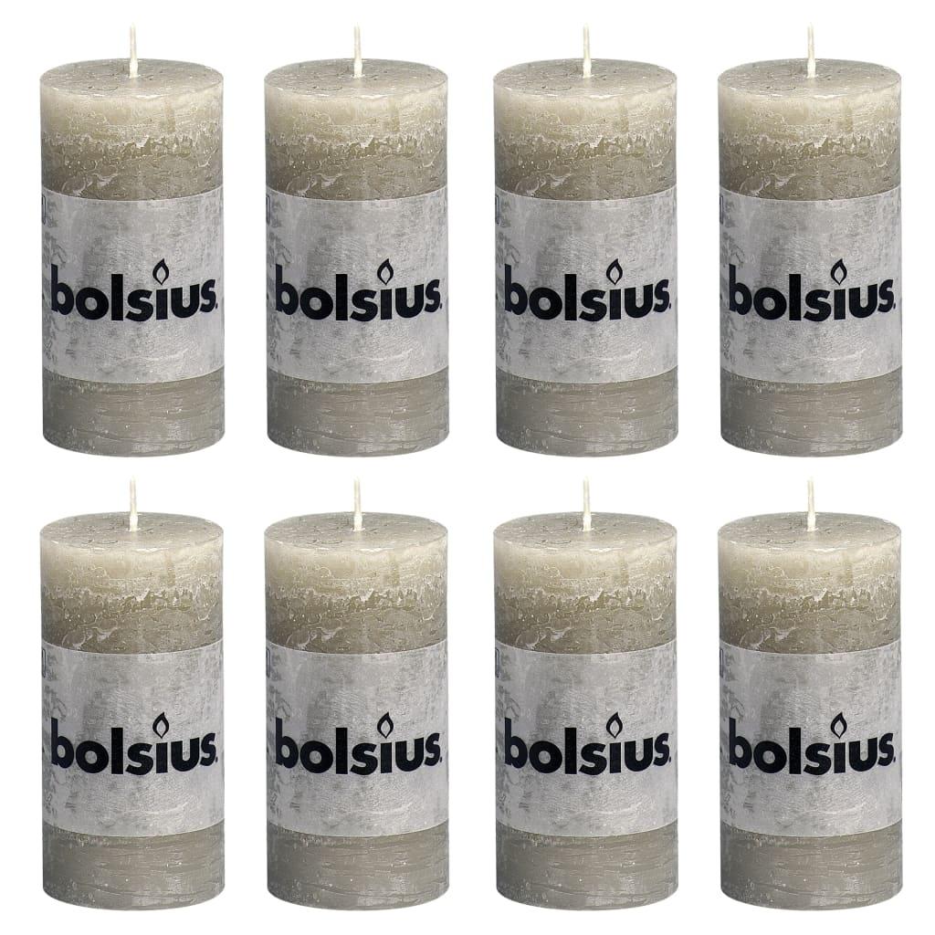 Bolsius Lumânări bloc rustice, 8 buc., gri ardezie, 100 x 50 mm poza vidaxl.ro