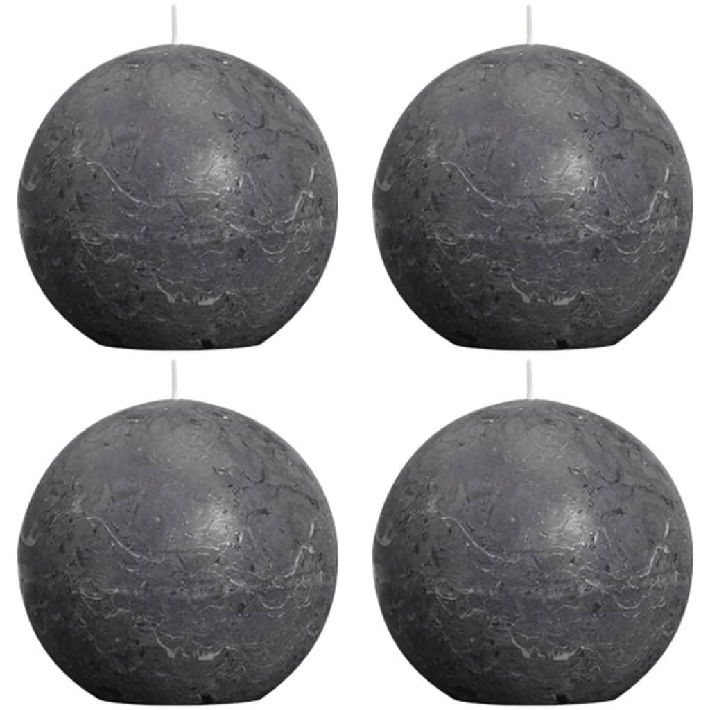 Afbeelding van Bolsius Bolkaars rustiek 100mm houtskool grijs 4 st